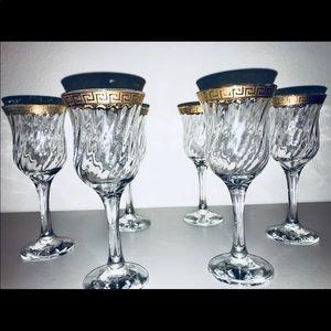 Vintage 1950s Crystal Wine Glasses